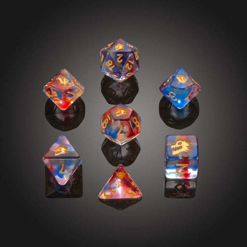 Dice RPG Set of 7 'Spirit Of' Blue Dragon