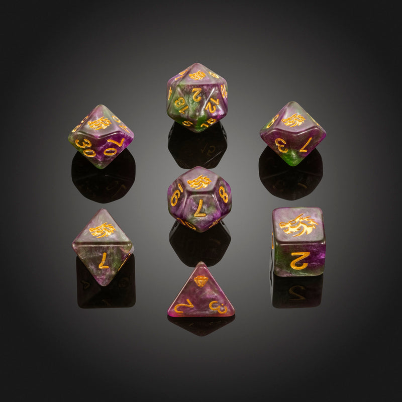 Dice RPG Set of 7 'Spirit Of' Purple Dragon Dice