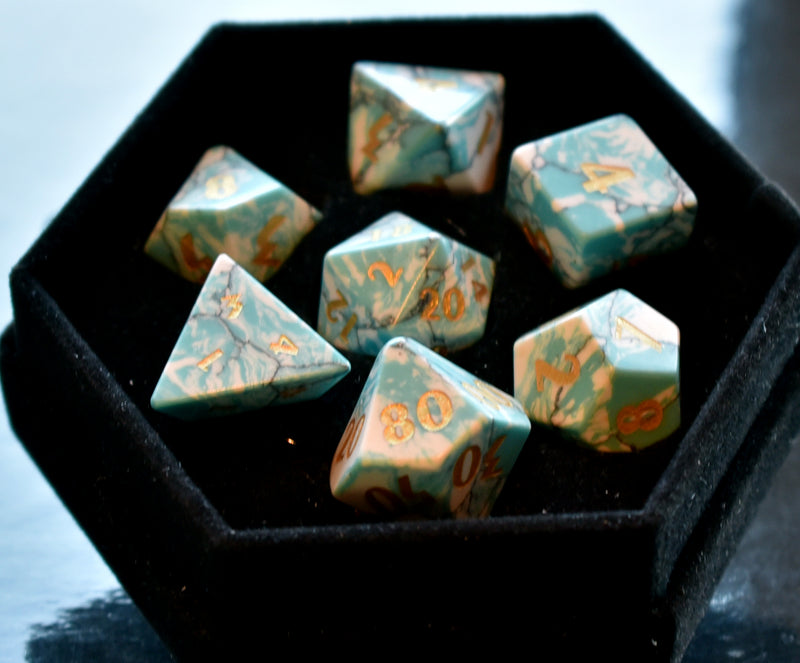 Synthetic Turquoise Gemstone Dice