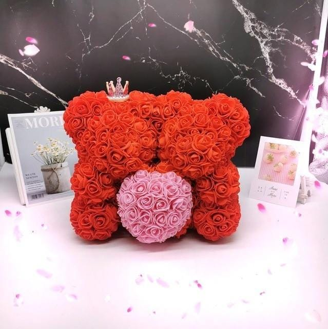 Ours en roses artificielles et Cur rose (Duo Rouge 40cm)