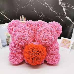 Ours en roses artificielles et Cur rouge (Duo Rose 40cm)
