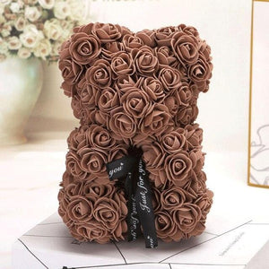 Ours en roses artificielles (Marron 25cm)