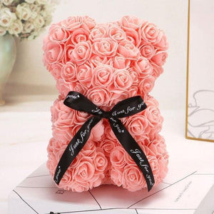 Ours en roses artificielles (Orange 25cm)