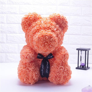 Ours en roses artificielles (Orange 40cm)