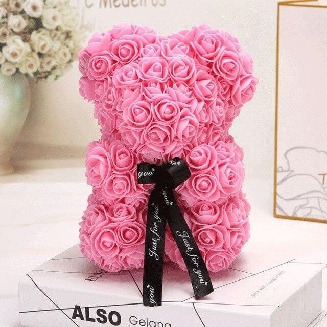 Ours en roses artificielles (Rose 25cm)