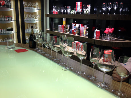 Glass and Prosecco testing at Riedel UK, Staffordshire