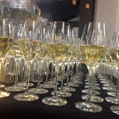Prosecco glasses lined up for the reception drink