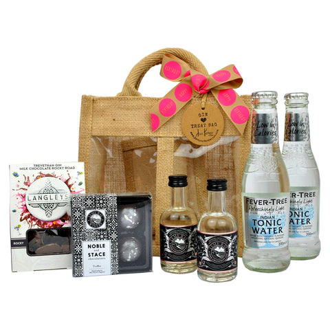 Happy Birthday Gin Treat Bag Hamper with Miniature Pink Gin, Gin Truffles and Chocolates and Tonic Water