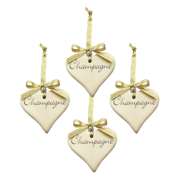 4 x Champagne Ceramic Heart with Gold Ribbon Decoration