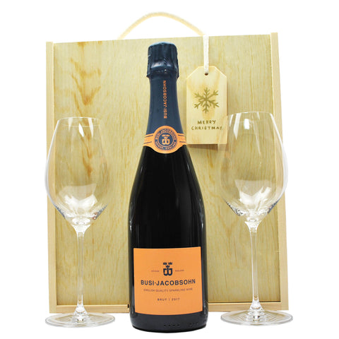 Busi-Jacobsohn Classic Cuveé English Sparkling Wine and Riedel Champagne Glasses  in a Wooden Gift Box