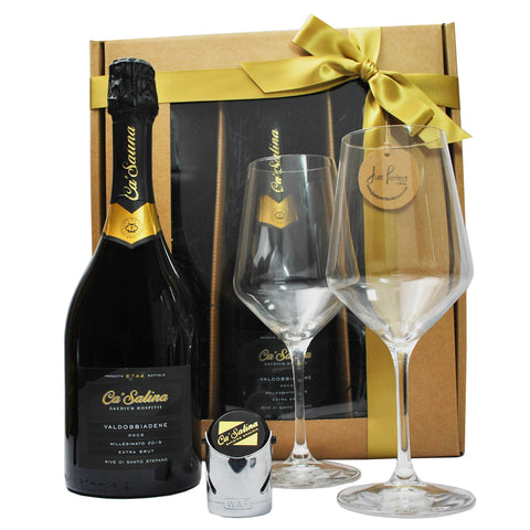 Ca'Salina Premium Rive Prosecco Gift Set with Glasses