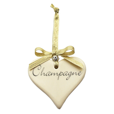 Champagne Ceramic Heart with Gold Ribbon Decoration