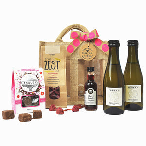 Birthday Prosecco Treat Bag with Furlan Prosecco, Cherry Brandy, Cherry Bakewell Rocky Road and red berry garnish