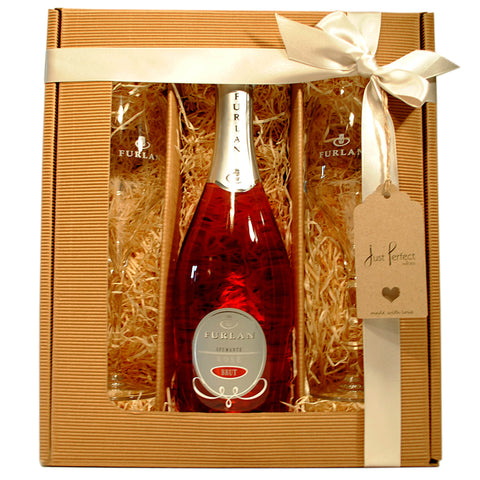 Furlan Rose Spumante Brut and 2 Branded Furlan Fizz Glasses Gift Set