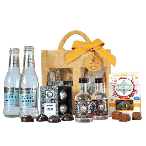 Birthday Orange and Thyme Gin Treat Bag Hamper with Gin, Truffles, Chocolates and Tonics