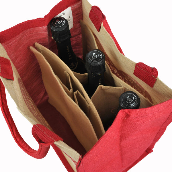 Love Wine Shopping Bag / 6 Bottle Wine Carrier with a Removable Divider