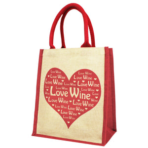 Love Wine shopping bag and bottle carrier  in red and natural Juco with heart design