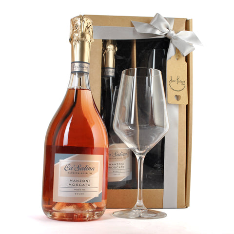 Ca'Salina Pink Moscato and Glass Gift Set