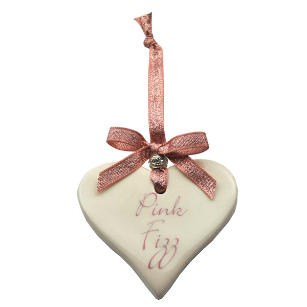 Pink Fizz Ceramic Heart Christmas Decoration Rose Gold