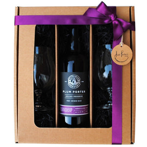 Titanic Brewery Plum Porter Grand Reserve Gift Set with 2 Spiegelau beer glasses in a kraft gift box