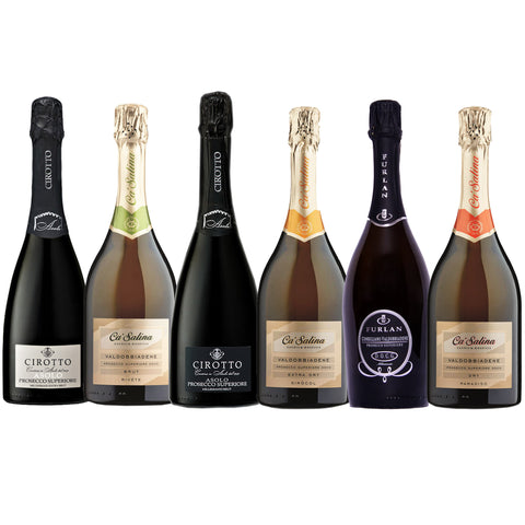 Prosecco Superiore Discovery Box featuring a mix of premium Prosecco in different sweetness levels