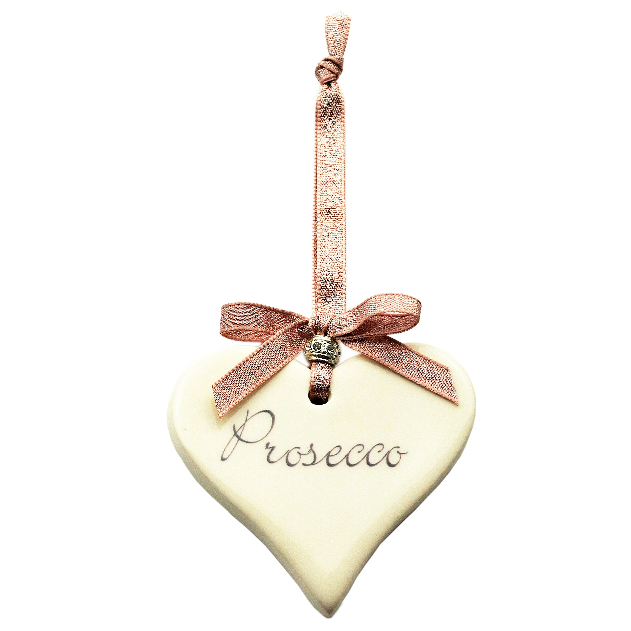 Rose Gold Prosecco Ceramic Heart Decoration perfect gift idea for Mother's Day