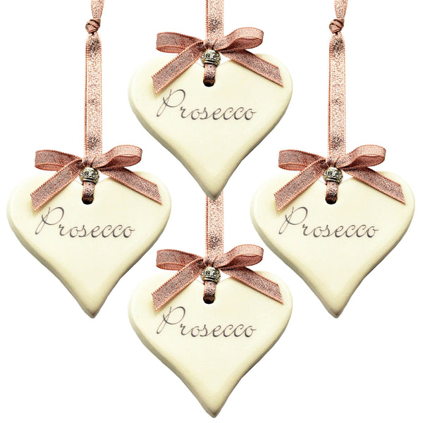 Rose Gold Prosecco Ceramic Heart Christmas Decoration