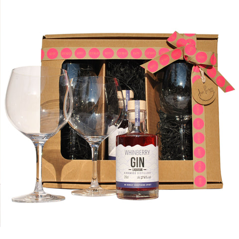 Happy Birthday Whinberry Gin Liqueur with Copa Glasses Gift Set
