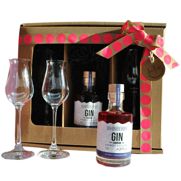 Happy Birthday Whinberry Gin Liqueur with Liqueur Glasses Gift Set