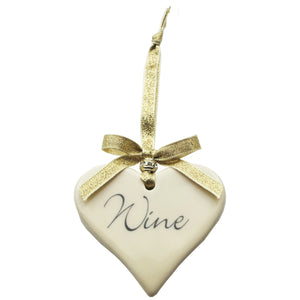 Wine Ceramic Hanging Heart Gold