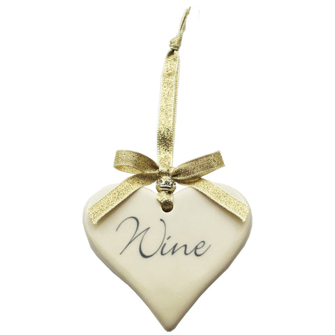 Wine Ceramic Hanging Heart handmade by Dimbleby Ceramics perfect gift idea for Mother's Day
