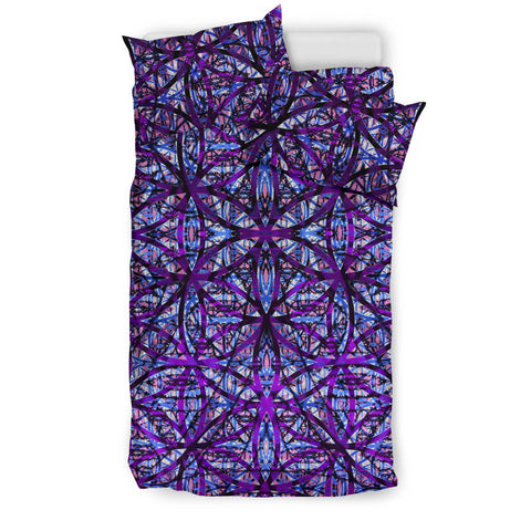 Flower of Life Dark Purple Mix Bedding Set by PatternNerd