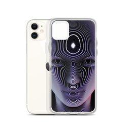 Purple Face iPhone Case by Pattern Nerd