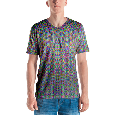 Silver Rainbow Flower of Life Men's T-shirt by PatternNerd