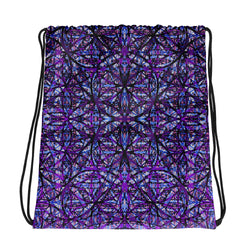Flower of Life Dark Purple Mix Drawstring bag by PatternNerd