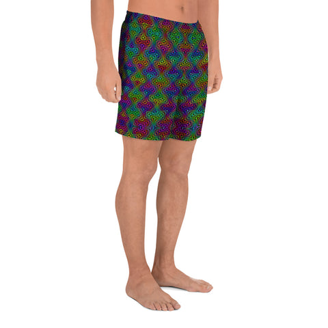Colorful Interactions Men's Athletic Long Shorts | PatternNerd
