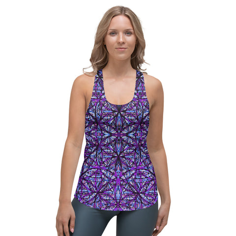 Flower of Life Dark Purple Mix Women's Racerback Tank by PatternNerd