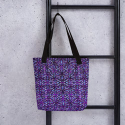Flower of Life Dark Purple Mix Tote bag by PatternNerd