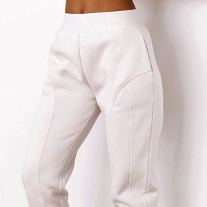 Cream Basic Fitted Joggers