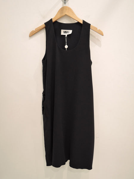 Fluid Dress with Tie Backs in Navy