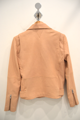 Jayne Classic Leather Jacket in Nude
