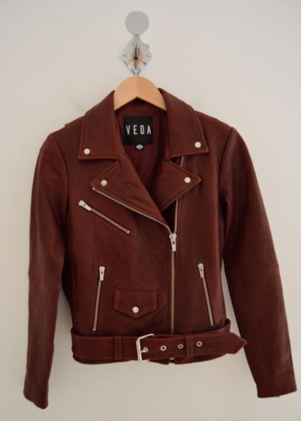 Jayne Classic Leather Jacket in Bordeaux