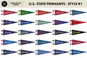Vintage State Pennants - Brian Ritter Design