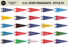 Load image into Gallery viewer, Vintage State Pennants - Brian Ritter Design