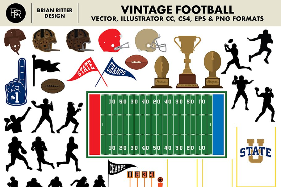 Vintage Football Vector Graphics - Brian Ritter Design