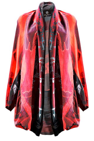 DAISY DARCHE GAUDI JACKET IN RED LACE PRINT ON SILK CREPE DE CHINE