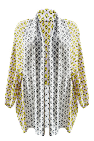DAISY DARCHE GAUDI JACKET IN POLKA PISTOL PRINT ON SILK CREPE DE CHINE
