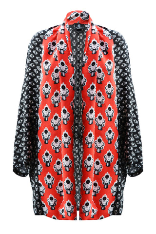 DAISY DARCHE GAUDI JACKET IN RED & BLACK REVOLVER PRINT