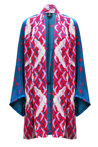 DAISY DARCHE GAUDI JACKET IN GO GO FLAMINGO PRINT ON SILK CREPE DE CHINE