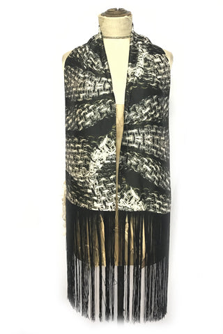 DAISY DARCHE GATSBY SILK SATIN FRINGE SCARF IN TWEED GREY PRINT